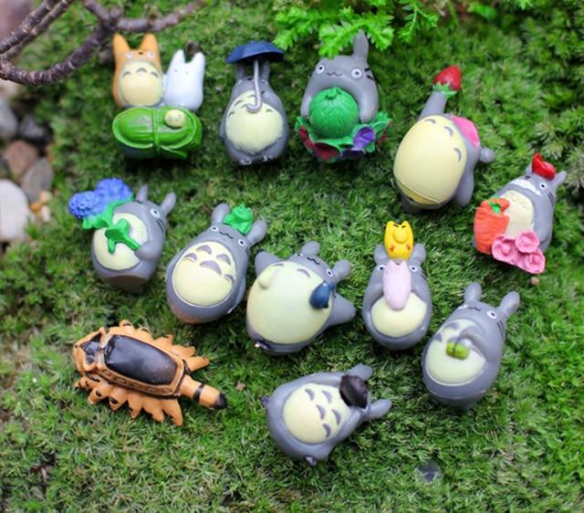 12pcs Zakka Difference Type Totoros Micro Landscape Ornaments Miniature Garden  Decor Terrarium Accessories Figurines Dollhouse