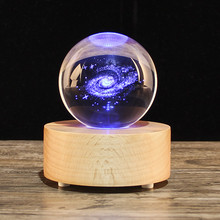 JQJ 3D Milky Way Galaxy 80 mm Crystal Glass Ball Globe Music Box Wooden Bluetooth Speaker Wedding Birthday Valentine's Day gift