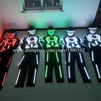 Hurtownie 5 Zestawów Robota Garnitur Kostium Z Kask LED LED RGB DJ Odzież Piosenkarka Tancerz Scen Świecenia Światła Odzież