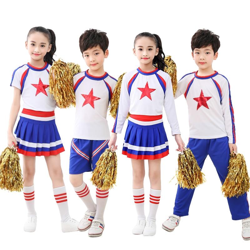 Cheerleader Uniforms Dancing Costumes Stage Performance Cheer Leaders 2 Piece Suit Boys Girls Dance Costume Cheerleader Costume