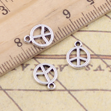 50pcs/lot Charms peace symbol 10x8mm Tibetan Silver Pendants Crafts Making Findings Handmade Antique Jewelry DIY for Necklace