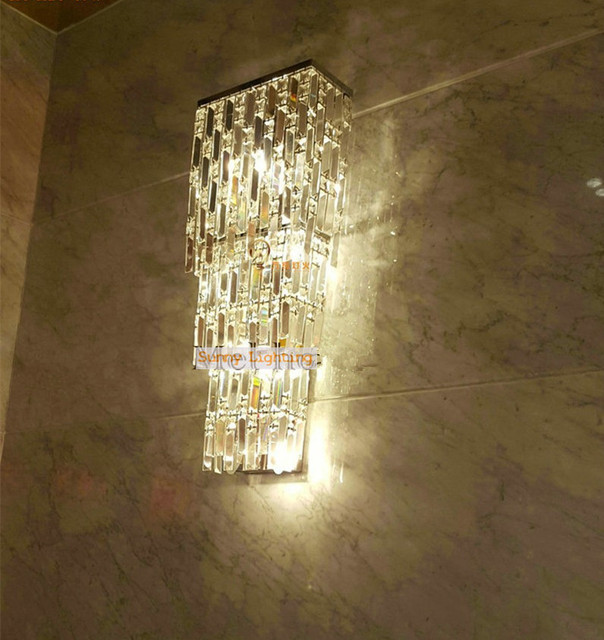 Extra large Hotel Hall crystal wall Sconce 4 lights Village Plaza XXL led wall lamps crystal shade modern commercial lighting