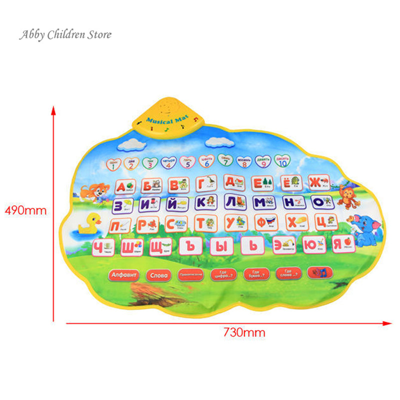 Russian Alphabet Carpet Baby Play Talking Poster Mat Nice Music Animal Sounds Educational Learning Baby Toy Gift for Children