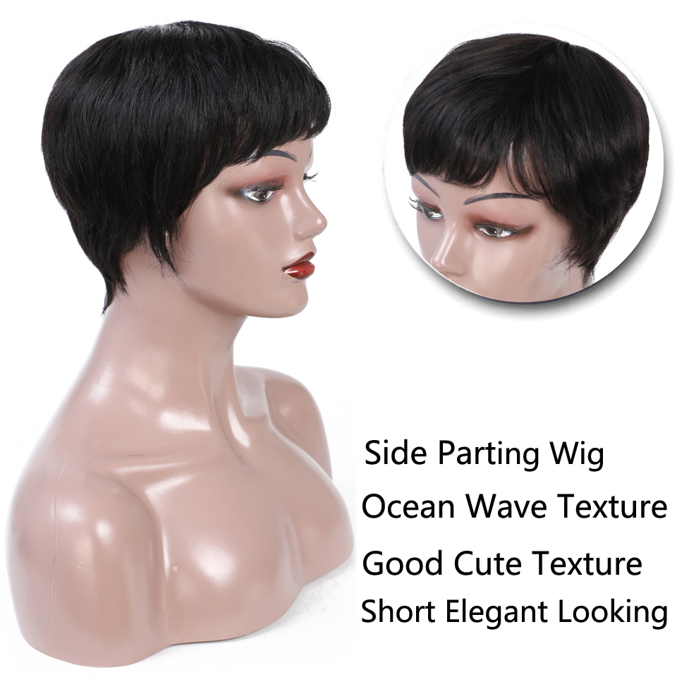 Superfect Short Natural Straight Wave Human Hair Wigs For Women #1B 6 Inch Remy Brazilian Hair Wig Free Shipping