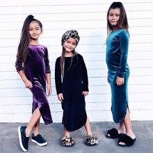 Hot style girls golden velvet long-sleeved dress Children Fashion Plain color Autumn Sheath Kids fashion DR19127