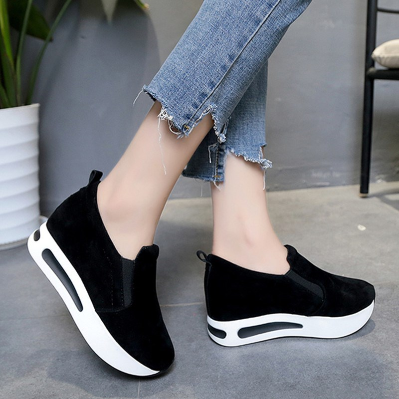 Women Flats Autumn 2018 Creepers Platform Casual Shoes Woman Slip-On Black Loafers Spring Flats Fashion Solid Women Sneakers стоимость