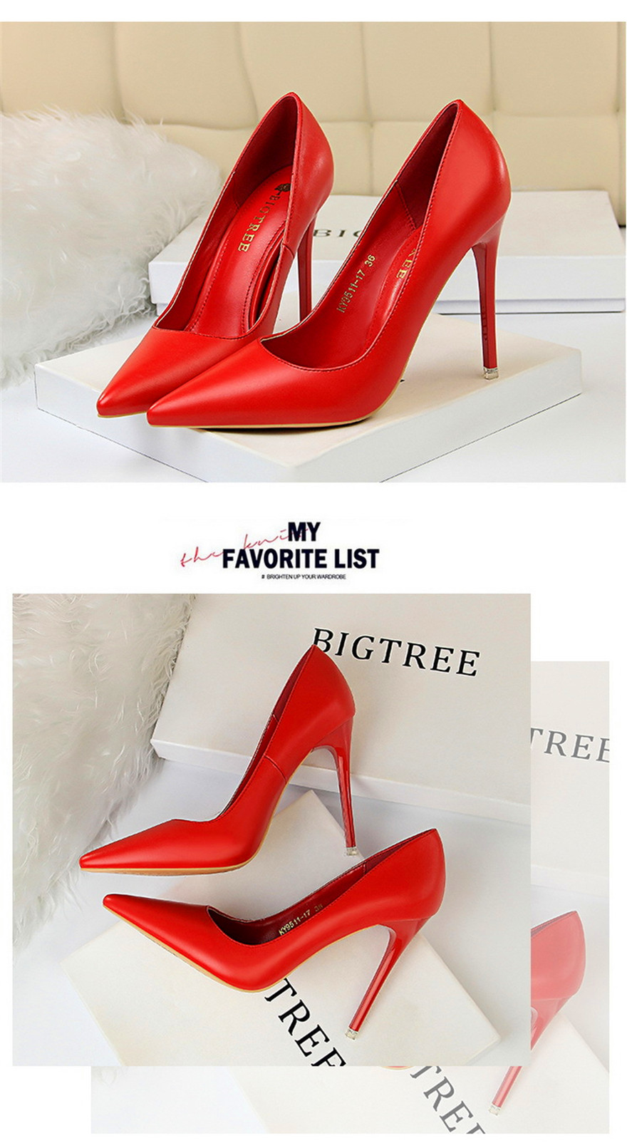 BIGTREE Soft Leather Shallow Fashion Women's High Heels Shoes Candy Colors Pointed Toe Women Pumps Show Thin Female Office Shoe 10