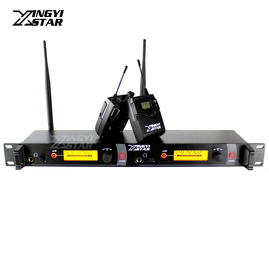 Wireless In Ear Monitor System Monitors Professional Stage Performance Dual Bodypack Receivers Two Earphone With One Transmitter 6 pack receivers wireless in ear monitor system professional dual channels transmitter sr 2050 iem