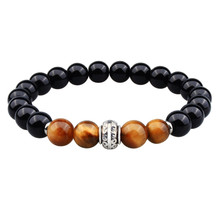 HAWSON Black Tiger Eye Bracelet Men Natural Stone Bead Yellow Beads Elastic Rope