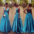 Azul Royal Cetim Uma Linha Ruffles V Neck Mangas Formais Vestidos Longos Para Festa de Casamento
