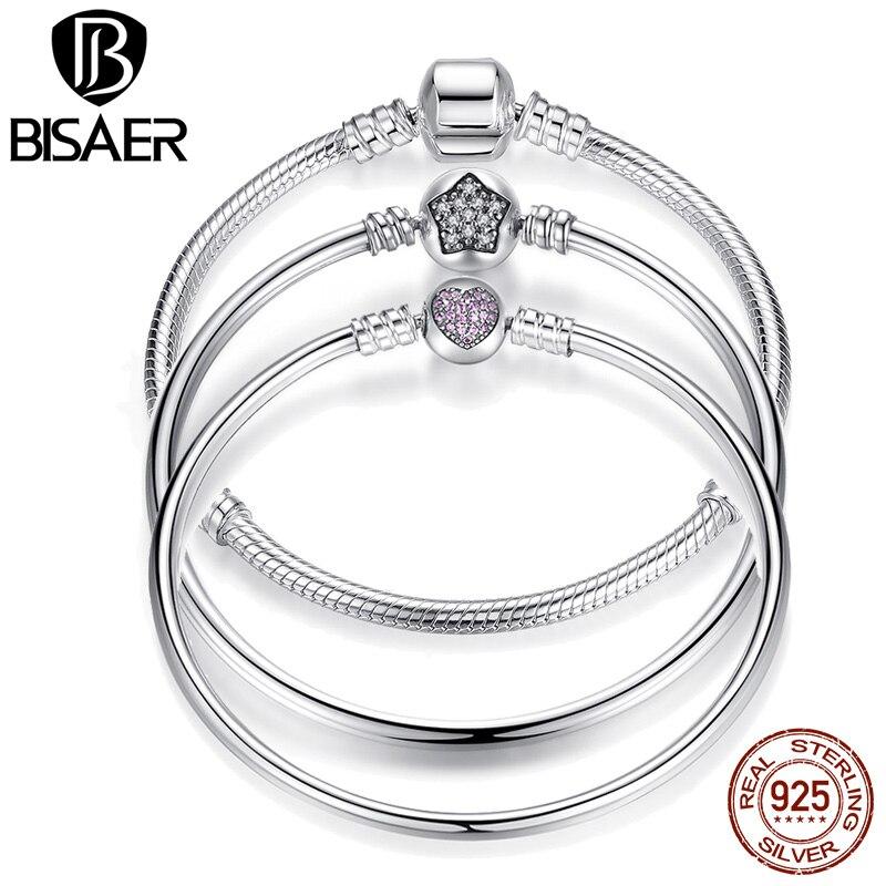 BISAER 925 Sterling Silver Snake Chain Bangle Star Cubic Zircon CZ Fit Original Brand Bangles & Bracelets Jewelry HJS901 цена 2017