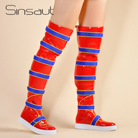 Sinsaut/Женская обувь на плоской подошве, женские кроссовки на толстой подошве, Сапоги выше колена, теплые зимние сапоги Красного цвета