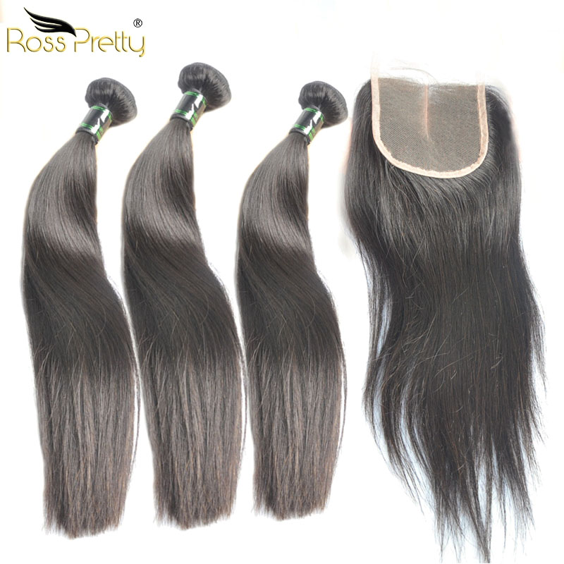 Ross Pretty Straight Hair Extension 3bundles with Closure Quality Malaysian Straight Hair weave with closure Pre Plucked Style