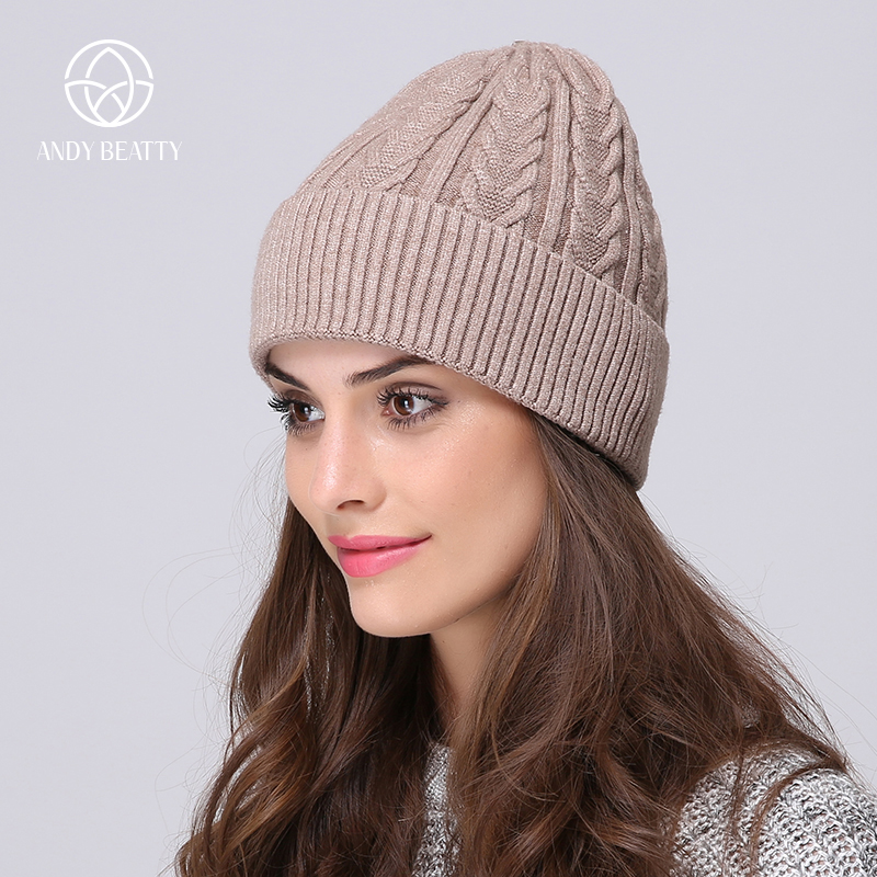 Andybeatty wool beanies female fashion Women's winter hat knitted  skullies casual outdoor ski caps thick warm hats for women skullies beanies the new russian leather thick warm casual fashion female grass hat 93022