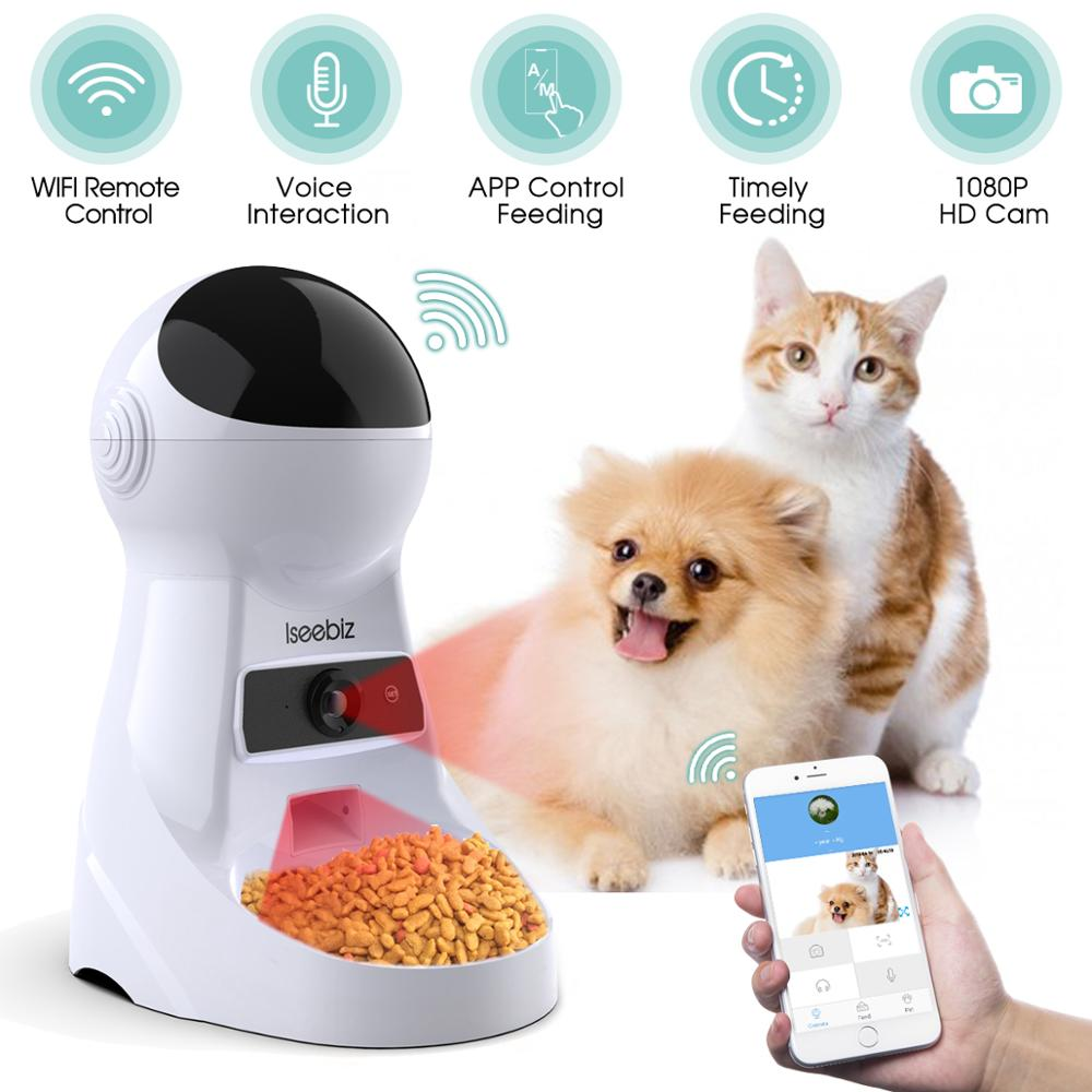Iseebiz EU/JP/US 3L Pet Feeder Wifi Remote Control Smart Automatic Pet Feeder Dogs Cat Food Rechargable With Video Monitor image