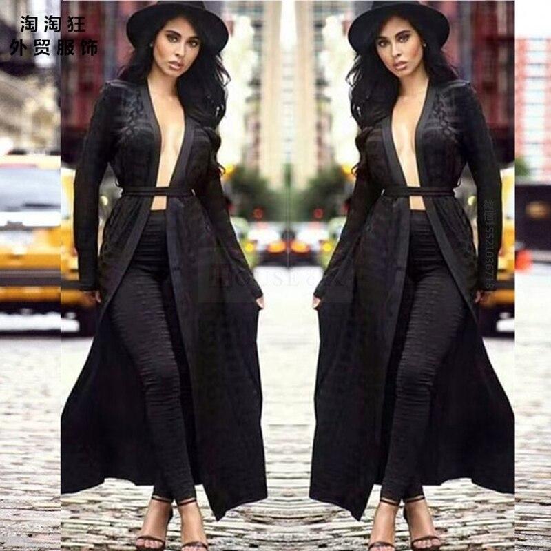Pantalones Conjunto Gabardina Mujer Ropa Larga Unidades Elegante Capa Pasarela Cardigan Celebridad Negro De Caqui Dos 2 qUzzwPaW