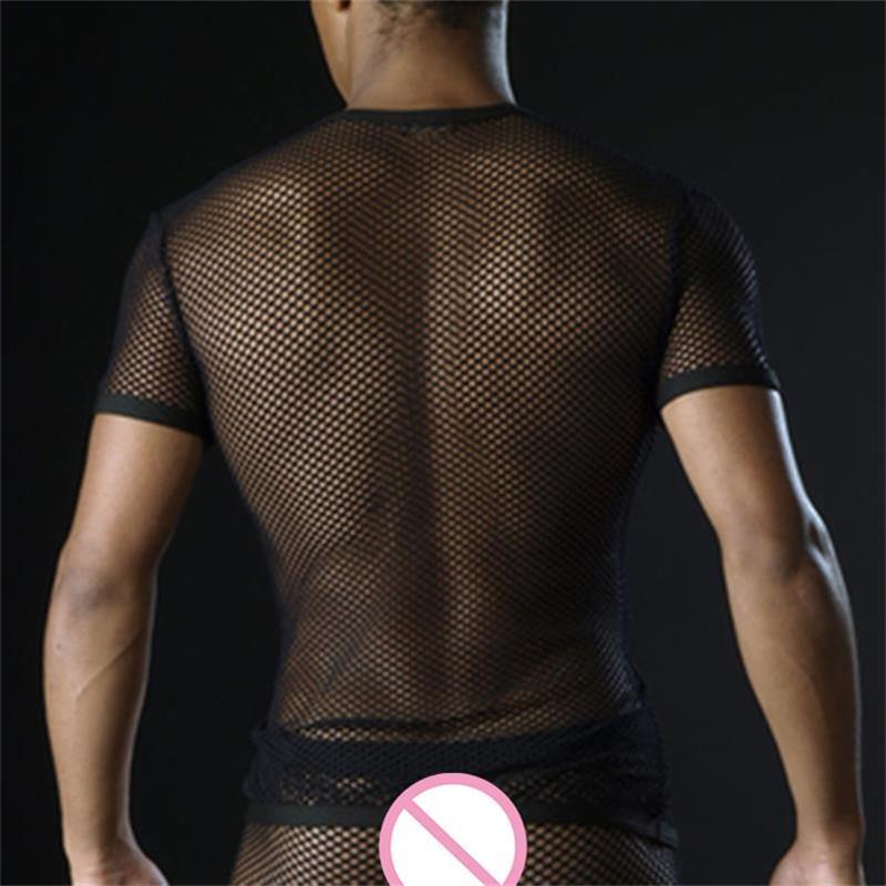 Sexy Men Super Thin Transparent Mesh   T     Shirt   Short Sleeve Perspective Tops Underwear   T  -  shirt   Breathable See Through Tee Tshirt