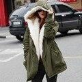 2016 nuevo invierno de lana Jacket Women Coat muchachas ocasionales calientes Outwear para mujer abrigo de cuello de piel abajo y abrigos 1110