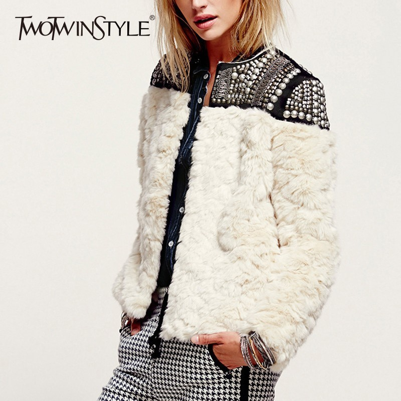 TWOTWINSTYLE Fleece Rivet Coat For Women Faux Fur Patchwork Long Sleeve Thick Cardigan Female 2019 Winter Harajuku New Clothing