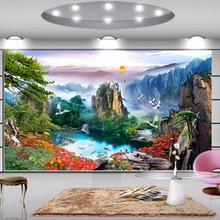 купить Large mural wallpaper for walls 3 d wall paper for living room TV backdrop wallpaper Chinese landscapes papel de parede  по цене 576.41 рублей