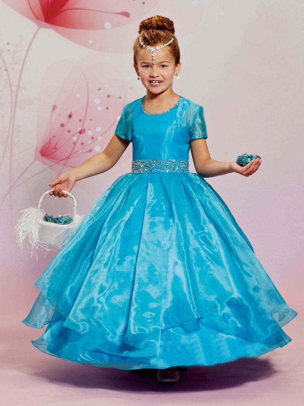 Navy blue flower girl dresses for wedding party organza for Wedding party dresses for girl