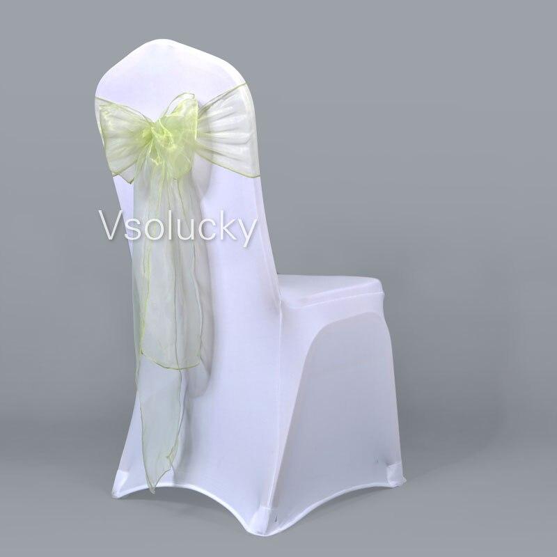 25 шт./лот, прозрачный чехол для стула из органзы с поясом и бантом, свадебные, вечерние, рождественские, на день рождения, для душа - Цвет: Light green