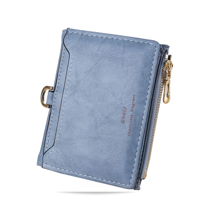 Large capacity women short wallets mini two folds card holder rfid wallets zipper coin purses photo Clutches portefeuille femme