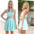 Nueva llegada azul sin mangas de cuello alto de encaje costura de menta mujeres dress lindo summer party dress casual delgado vestidos