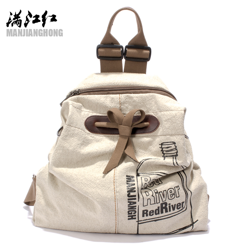 HOT New Designed Brand Cool Fashion Girls Backpack Men Women Cotton With Leather Women Backpack