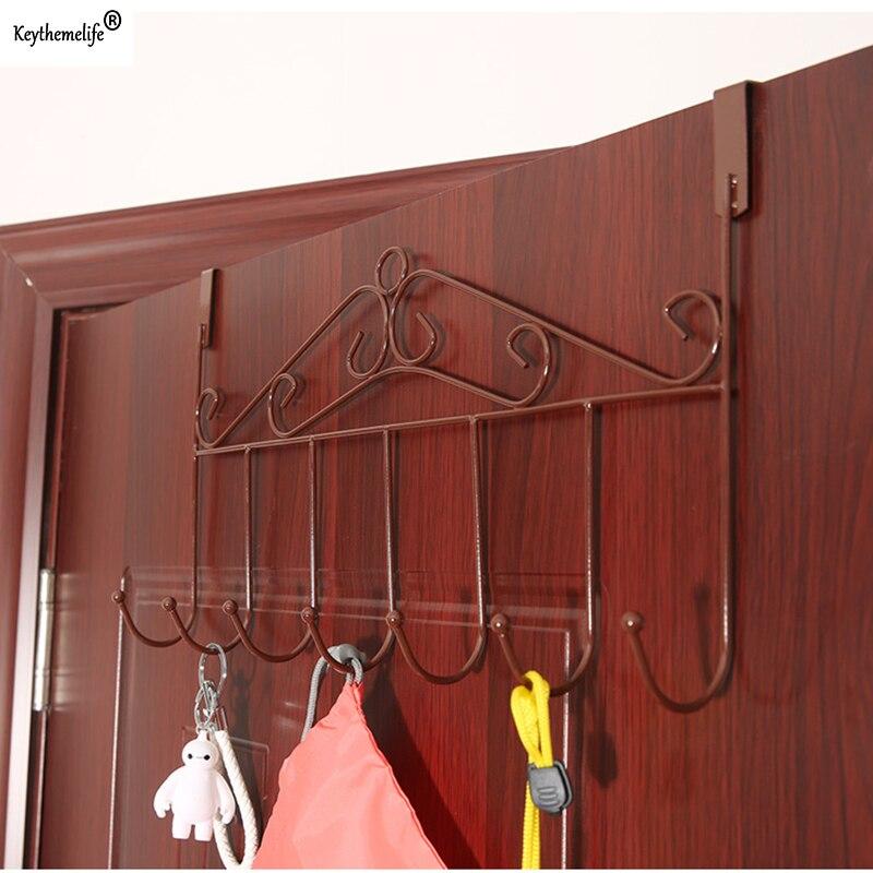 Keythemelife S Type 7 Hook Metal Kitchen Cabinet Door Hooks Towel
