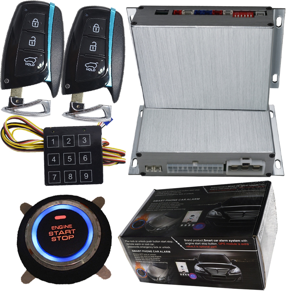car auto engine start stop button smart key alarm security keyless entry lock or unlock by passwords pke auto central lock car rolling code rfid pke car alarm system push button start stop remote engine start passive keyless entry smart password keypad