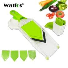 WALFOS מנדולינה כלי פריסת תפוחי אדמה ירקות ידניים קאטר עם 4 להב בצל מבצע פומפיית גזר עבור ירקות אבזרים למטבח