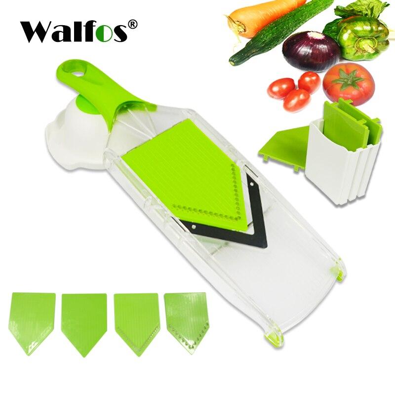 WALFOS Mandoline Affettatrice di Verdure Manuale Cutter con 4 Lame Patata Carota Grattugia per Verdure Cipolla Affettatrice Cucina Accessori