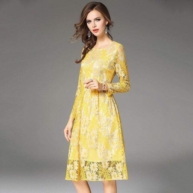 8eced6b09 Outono Senhoras Elegantes Vestidos de Renda Mulheres Amarelo Sexy Oco Out Vestido  Longo Mangas Feminino Vestidos
