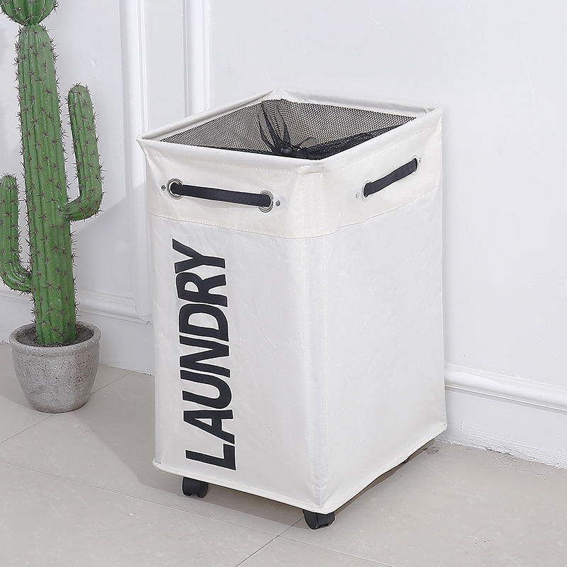 SHUSHI Pakaian Dirty Dirt Cucian Keranjang dilipat Storage basket dengan roda untuk office Waterproof Oxford Bathroom Laundry hamper