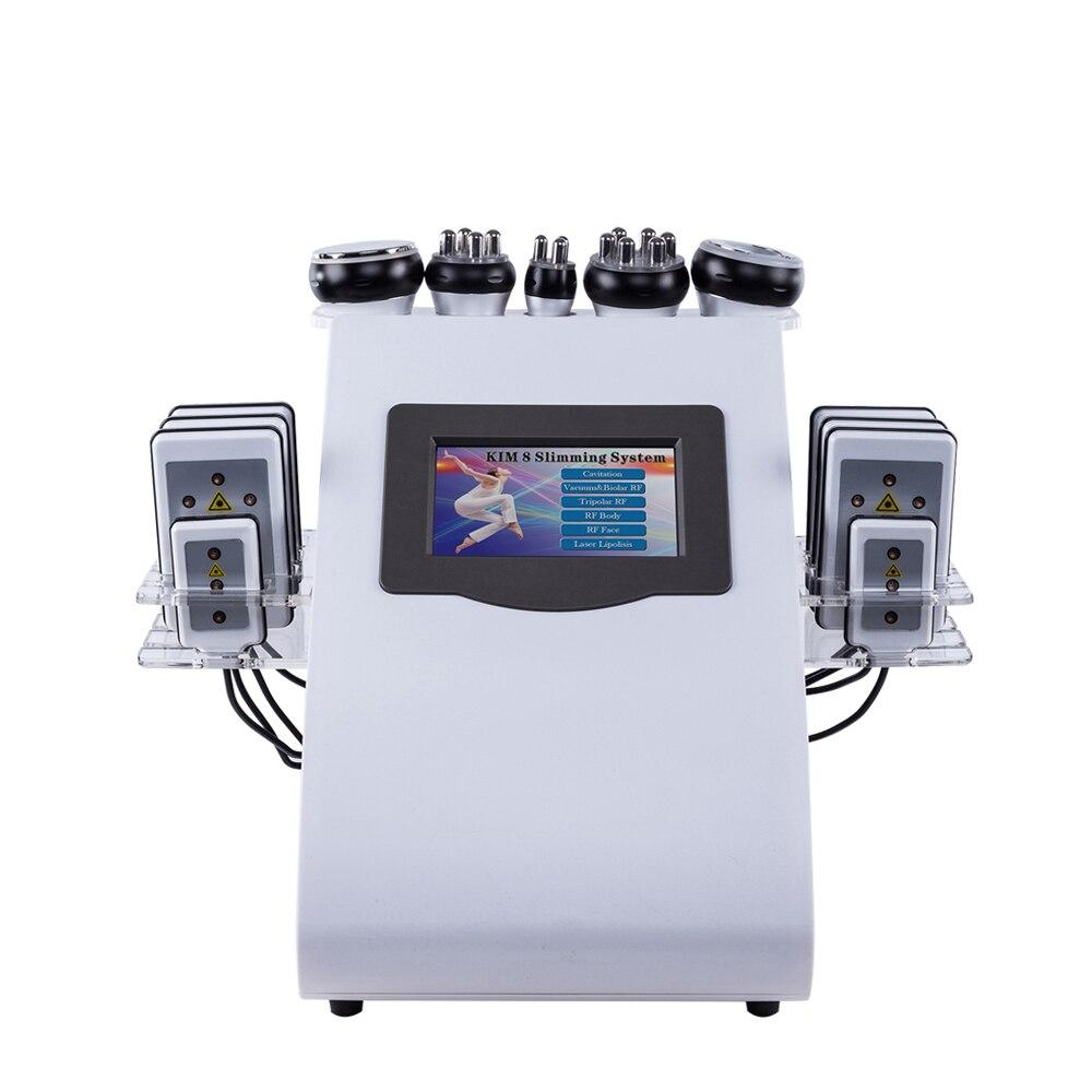 2019 Chegada Nova! 6 em 1 40 K 8 Almofadas Laser De Freqüência De Rádio Cavitação Ultra-sônica de Vácuo Máquina de Emagrecimento de Laser lipo para uso doméstico