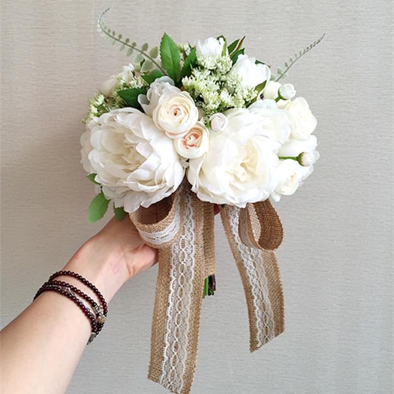 Западный Стиль элегантный Пион цветок невесты Букеты свадебные с аксессуары моделирования 0413 01