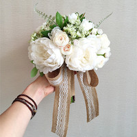 Western Style Elegant Peony Flower Bride Wedding Bouquet With Simulation Accessories 0413 01