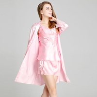 Summer Spring Women Long Sleeve Pajamas Sexy Lace Temptation Imitation Satin Robe Household Robes For Women
