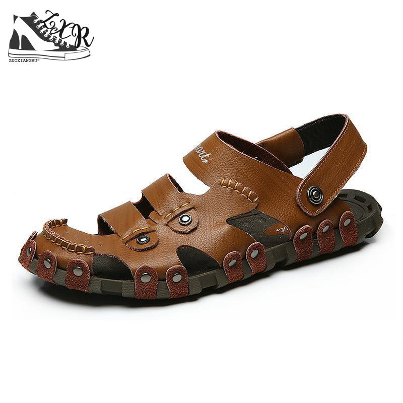 Mens Sandals Summer High Quality Brand Shoes Beach Men Sandals Men Casual Shoes Genuine Leather Fashion Waterproof Sandals