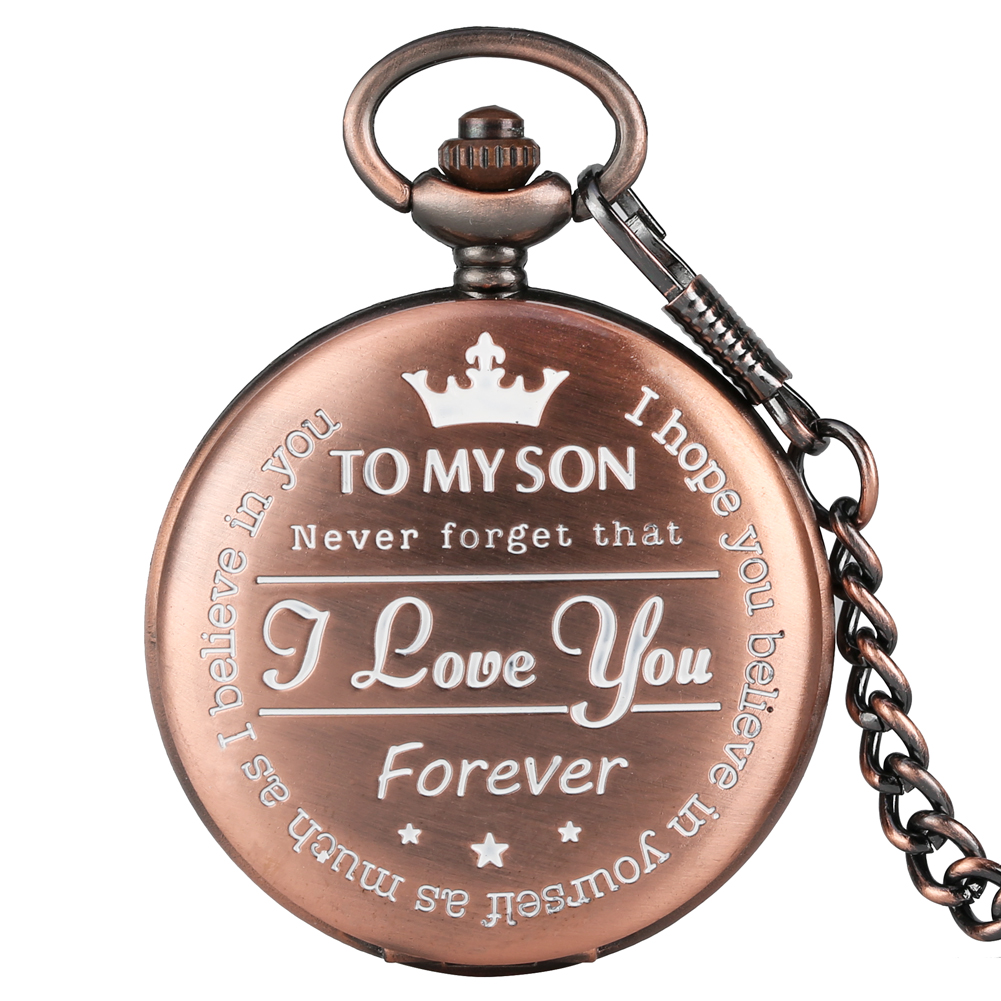 To My Son Pattern Theme Pocket Watch Rose Gold Punk Pocket Roman Numerals Display Necklace Chain Pendant Son Gifts Dropshipping