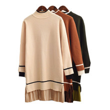 Lace Patchwork Beige Long Sweater for Women Long Pullovers Female Knit Dress Turtleneck Jumper Black Lady's Sweater Pull Femme