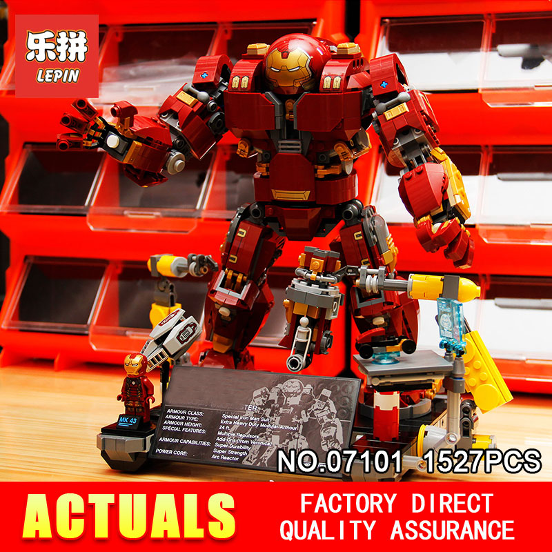 Lepin 07101 1527Pcs Super Genuine Hero Compatible with 76105 Iron Man Anti Hulk Mech Hulkbuster Ultron
