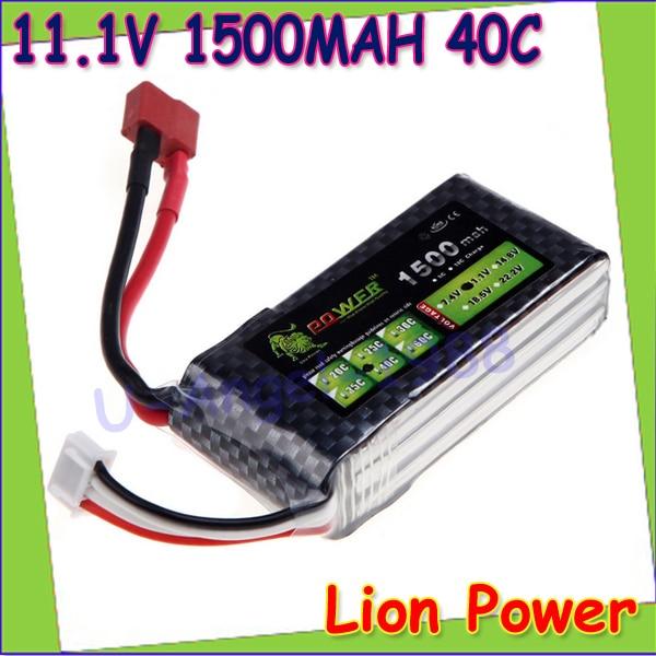 1pcs Oriainal Lion Power Lipo Battery 11 1V 1500Mah 40C MAX 60C T Plug for RC