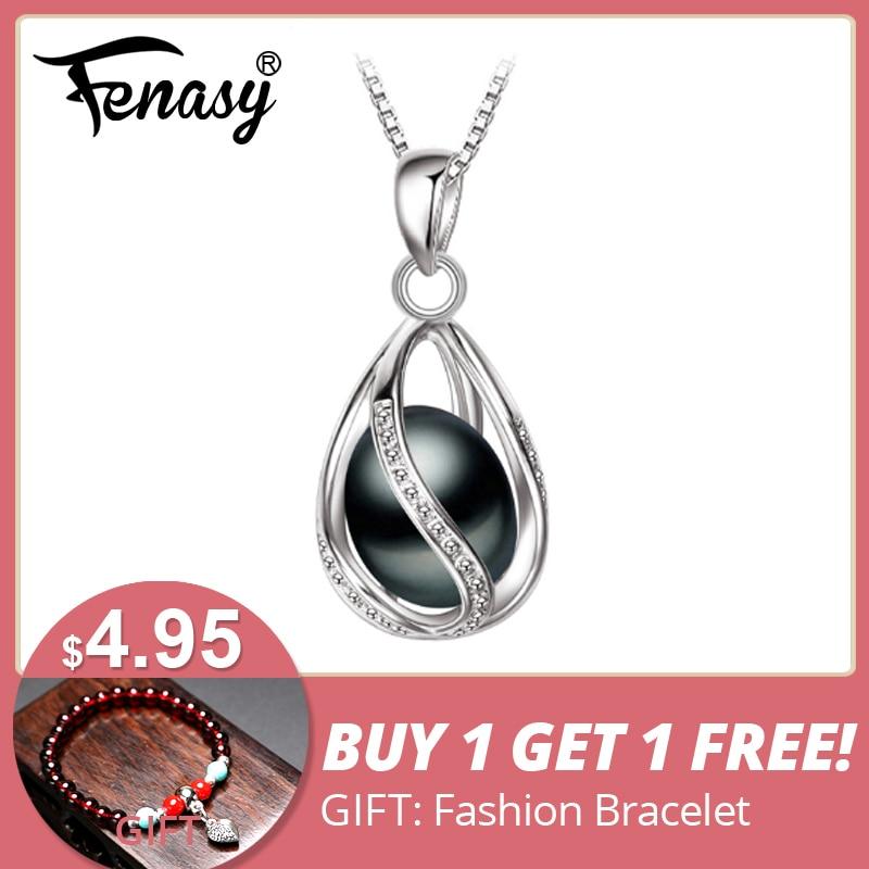 FENASY Black Pearl Halsband Trendig S925 Sterling Silver Geometrisk Cage Halsband Hängsmycke För Kvinnor Tjej Årsdag Födelsedag Gift