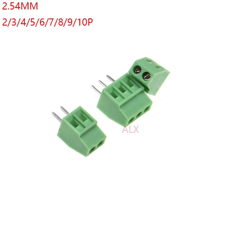 10 шт. kf120-2.54-2P 3P 2,54 мм Шаг прямой штифт pcb винтовой клеммный блок разъем 2PIN 3PIN зеленый KF120 2,54 2/3/4/5/6/10 pin