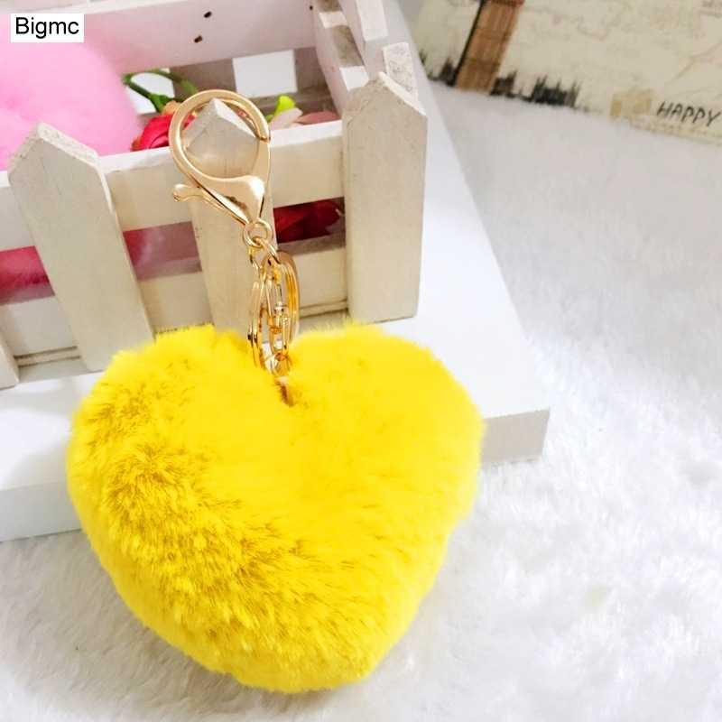 Ouvir Keychain-Nova moda coração pompom chave charme da cadeia acessórios do saco anel chave chaveiro carro de pelúcia partido amigo presente K1511