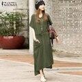 Oversized 2017 verão zanzea mulheres retro casual solto longo dress cotton linen sólidos manga curta tornozelo comprimento dress plus size