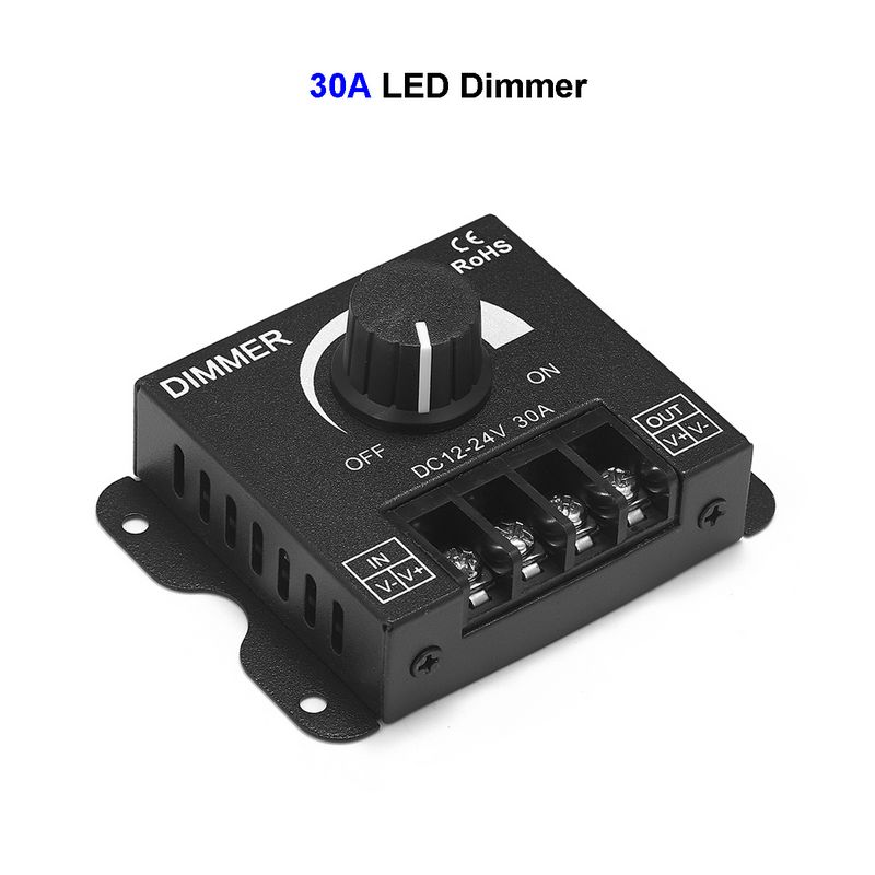 12V Dimmer DC24V 30A Switch Brightness Adjustable Controller Single Color LED Dimmer For Lamp Bulb 3528 5050 LED Strip Light
