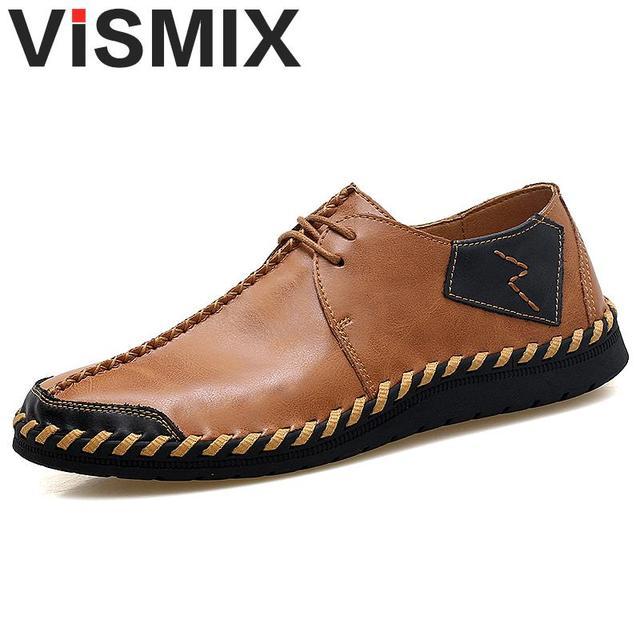 9ab21c273590 VISMIX Brand New Shoes Men Big Size 38-47 Mens Shoes Casual High Quality  Split Leather Shoes Lace Up Flats Man Plus Size 46 47